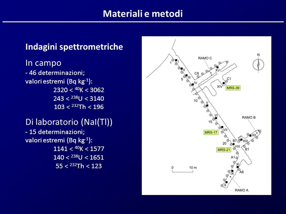 Materiali e metodi Indagini spettrometriche In campo - 46 determinazioni; valori estremi (Bq kg -1 ): 2320 < 40 K < 3062 243 < 238 U < 3140 103 < 232