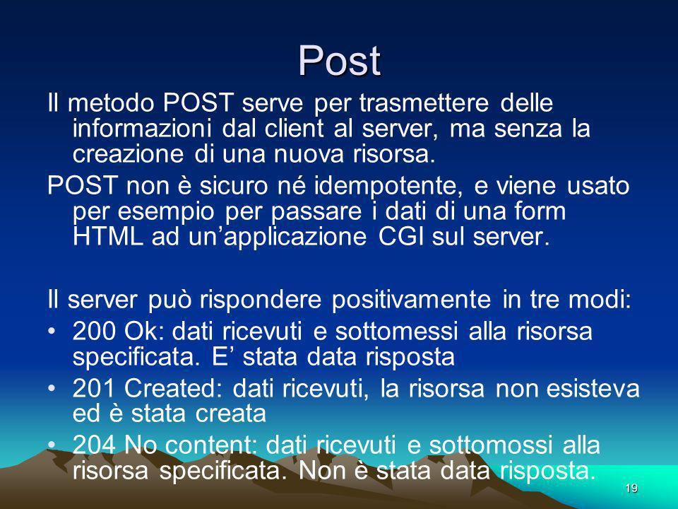 19 Post Il metodo POST serve per trasmettere delle informazioni dal client al server, ma senza la creazione di una nuova risorsa. POST non è sicuro né