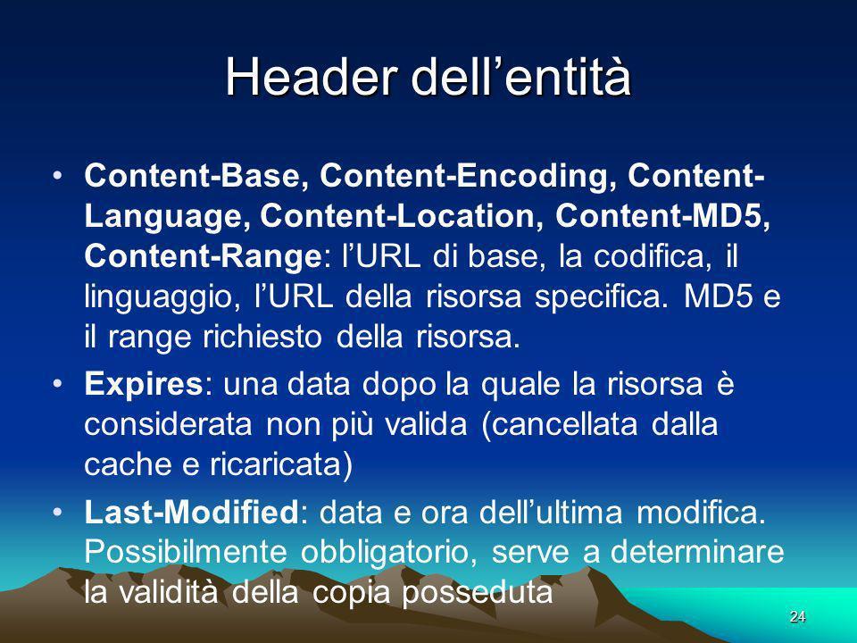 24 Header dellentità Content-Base, Content-Encoding, Content- Language, Content-Location, Content-MD5, Content-Range: lURL di base, la codifica, il linguaggio, lURL della risorsa specifica.