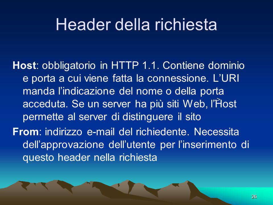 26 Header della richiesta Host: obbligatorio in HTTP 1.1. Contiene dominio e porta a cui viene fatta la connessione. LURI manda lindicazione del nome
