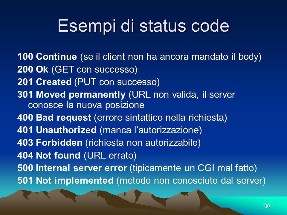 30 Esempi di status code 100 Continue (se il client non ha ancora mandato il body) 200 Ok (GET con successo) 201 Created (PUT con successo) 301 Moved