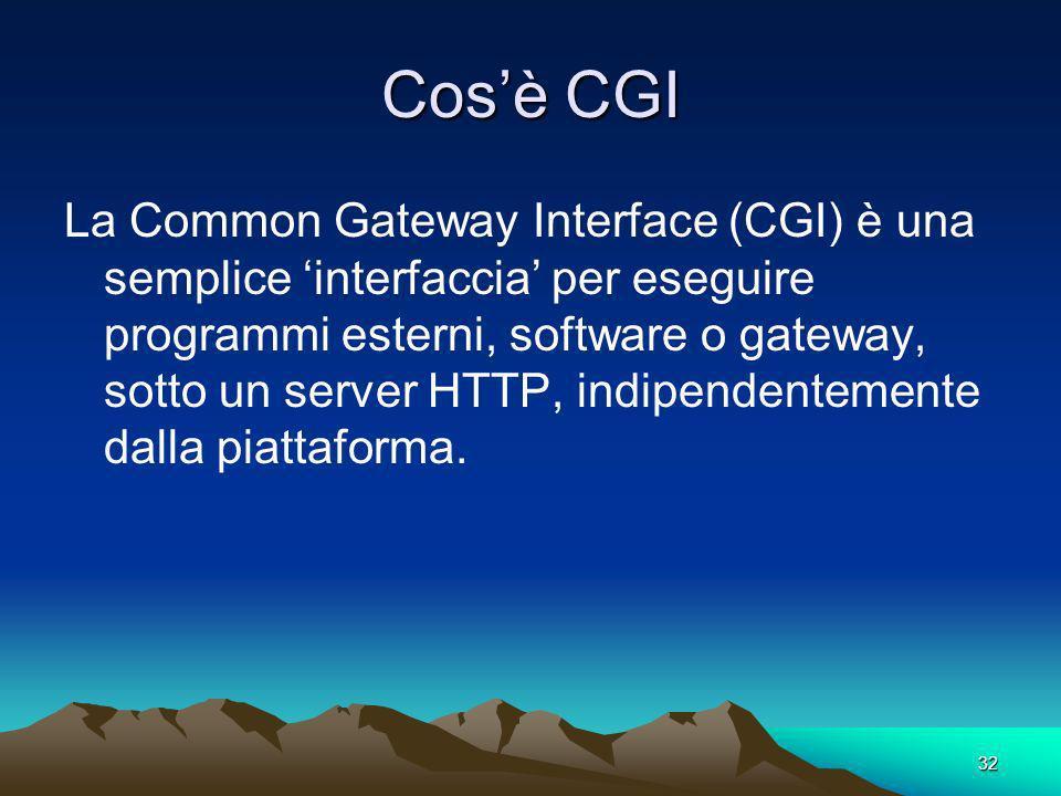 32 Cosè CGI La Common Gateway Interface (CGI) è una semplice interfaccia per eseguire programmi esterni, software o gateway, sotto un server HTTP, indipendentemente dalla piattaforma.
