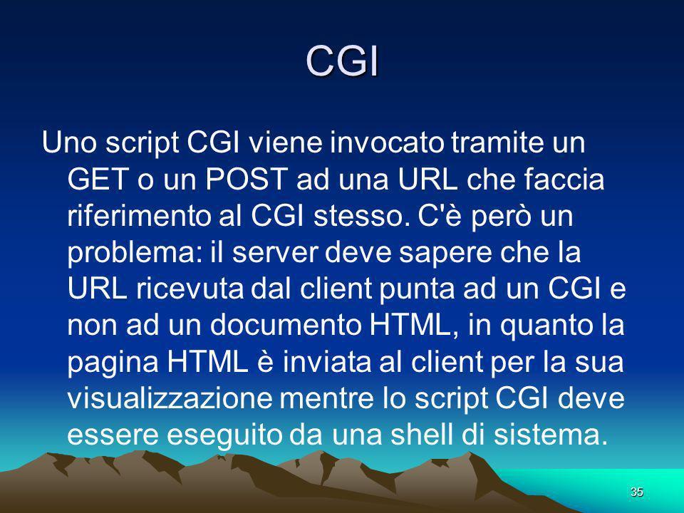 35 CGI Uno script CGI viene invocato tramite un GET o un POST ad una URL che faccia riferimento al CGI stesso.