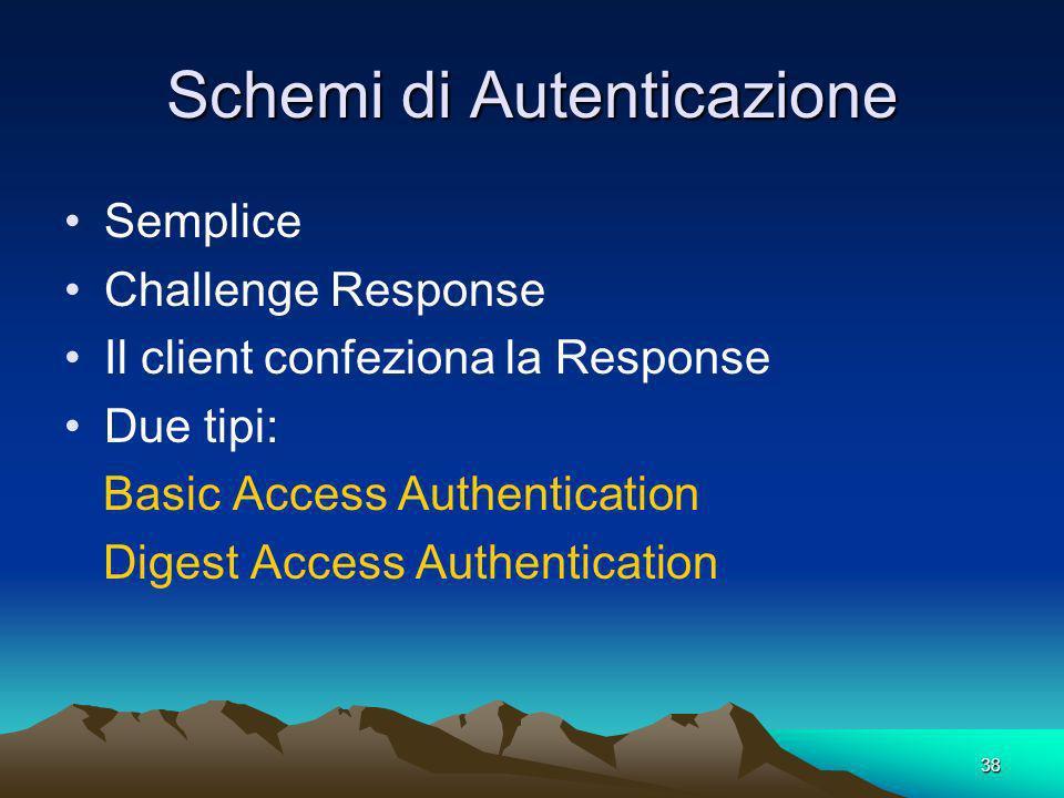 38 Schemi di Autenticazione Semplice Challenge Response Il client confeziona la Response Due tipi: Basic Access Authentication Digest Access Authentication