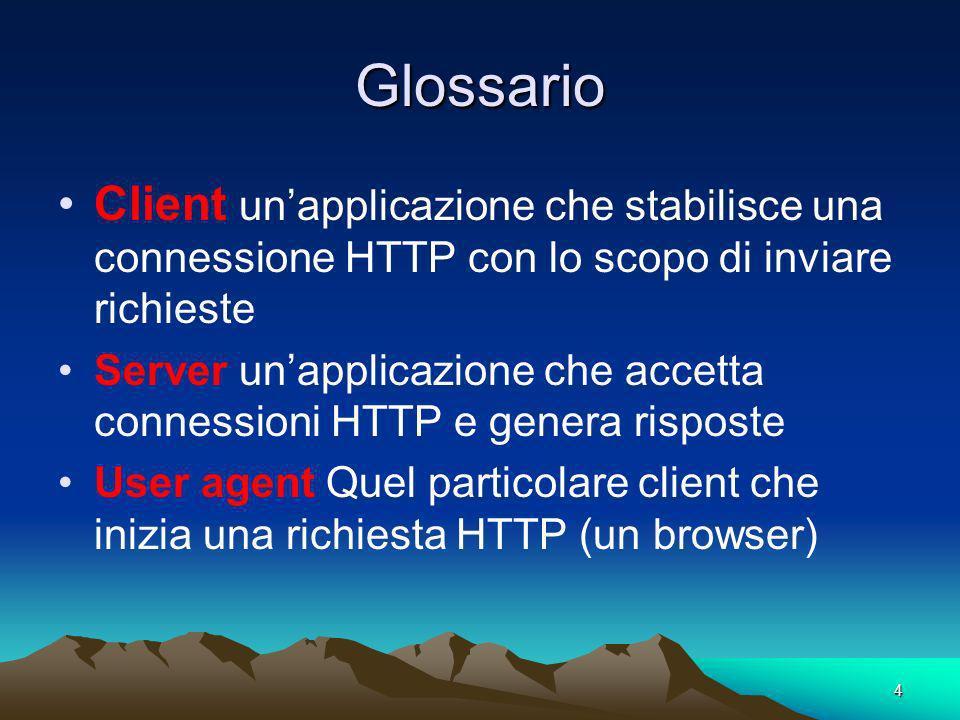 4 Glossario Client unapplicazione che stabilisce una connessione HTTP con lo scopo di inviare richieste Server unapplicazione che accetta connessioni HTTP e genera risposte User agent Quel particolare client che inizia una richiesta HTTP (un browser)