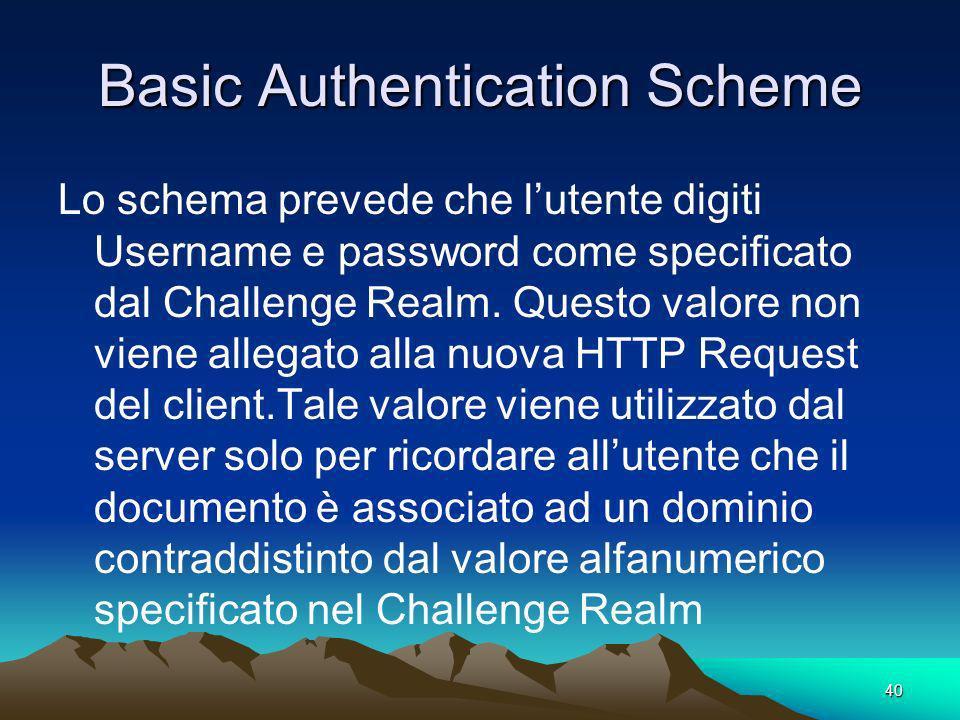 40 Basic Authentication Scheme Lo schema prevede che lutente digiti Username e password come specificato dal Challenge Realm. Questo valore non viene