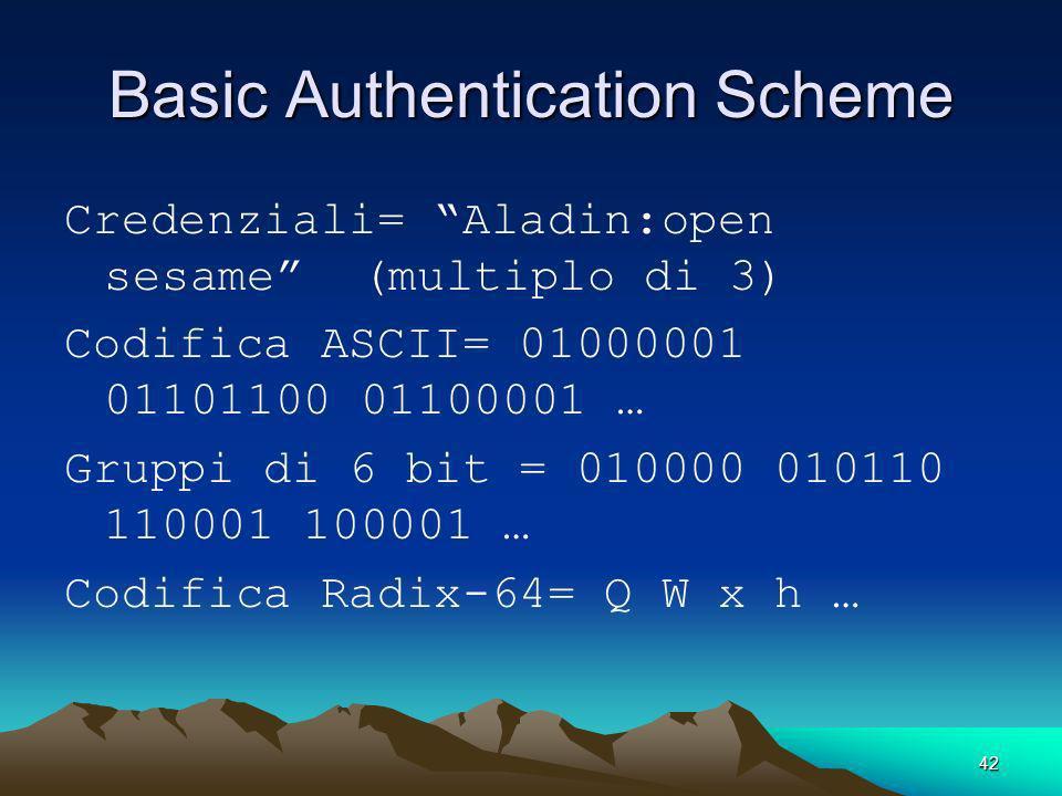 42 Basic Authentication Scheme Credenziali= Aladin:open sesame (multiplo di 3) Codifica ASCII= 01000001 01101100 01100001 … Gruppi di 6 bit = 010000 0