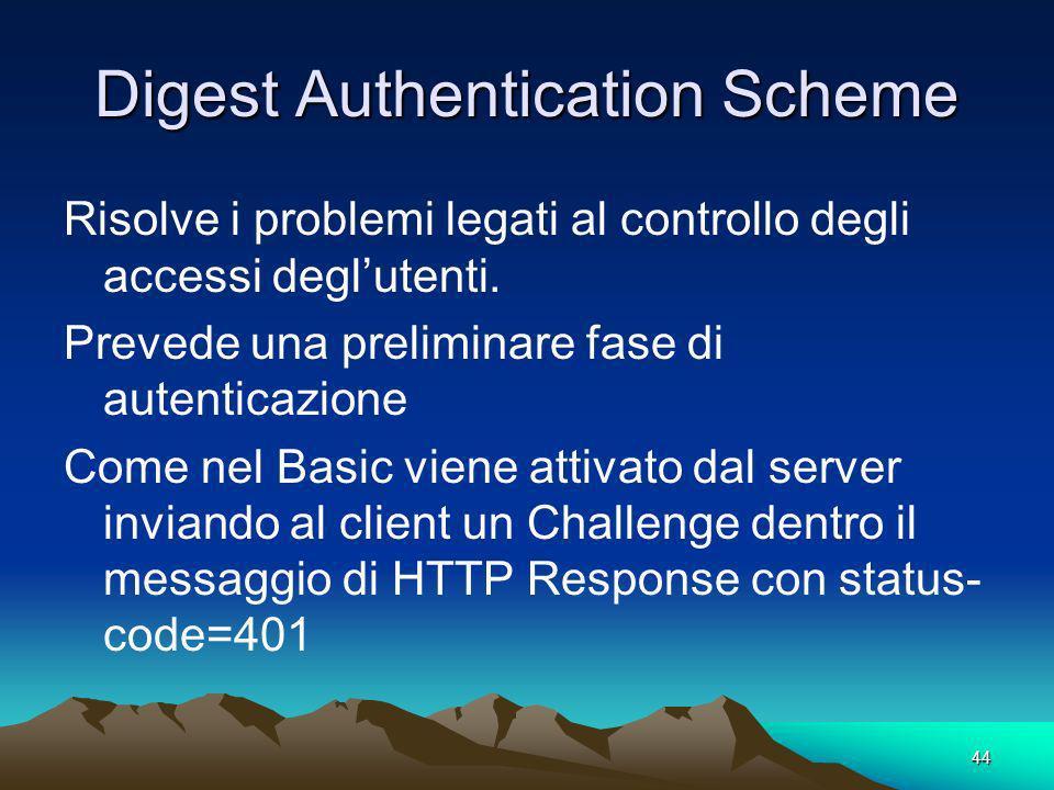 44 Digest Authentication Scheme Risolve i problemi legati al controllo degli accessi deglutenti. Prevede una preliminare fase di autenticazione Come n
