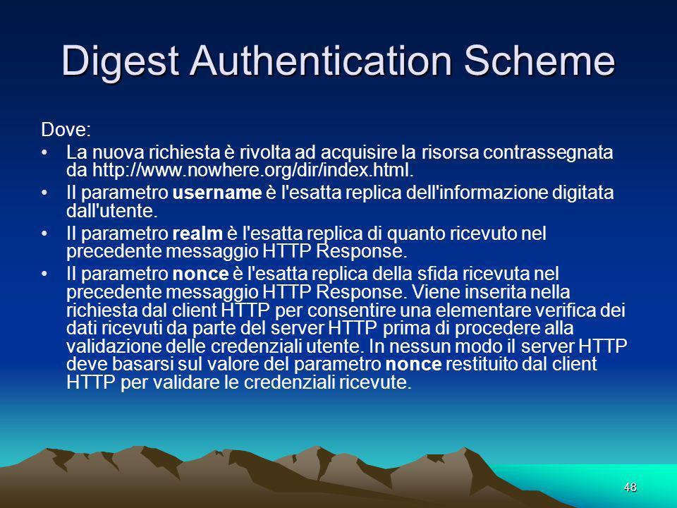 48 Digest Authentication Scheme Dove: La nuova richiesta è rivolta ad acquisire la risorsa contrassegnata da http://www.nowhere.org/dir/index.html. Il