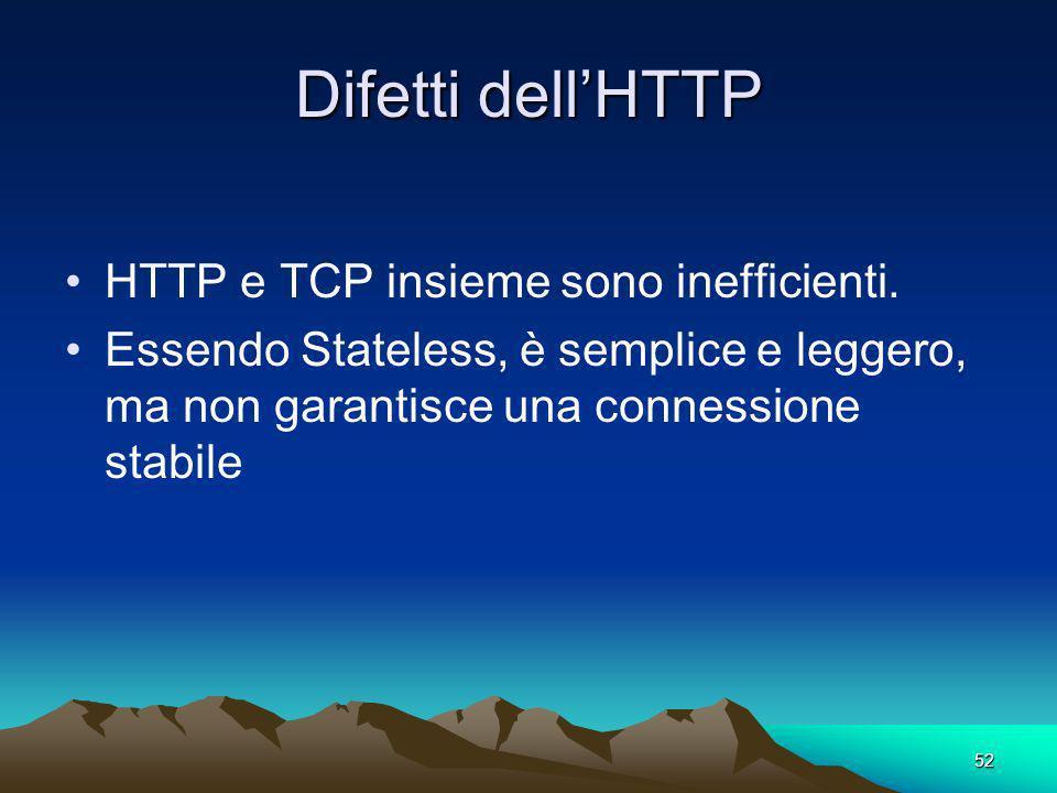 52 Difetti dellHTTP HTTP e TCP insieme sono inefficienti. Essendo Stateless, è semplice e leggero, ma non garantisce una connessione stabile