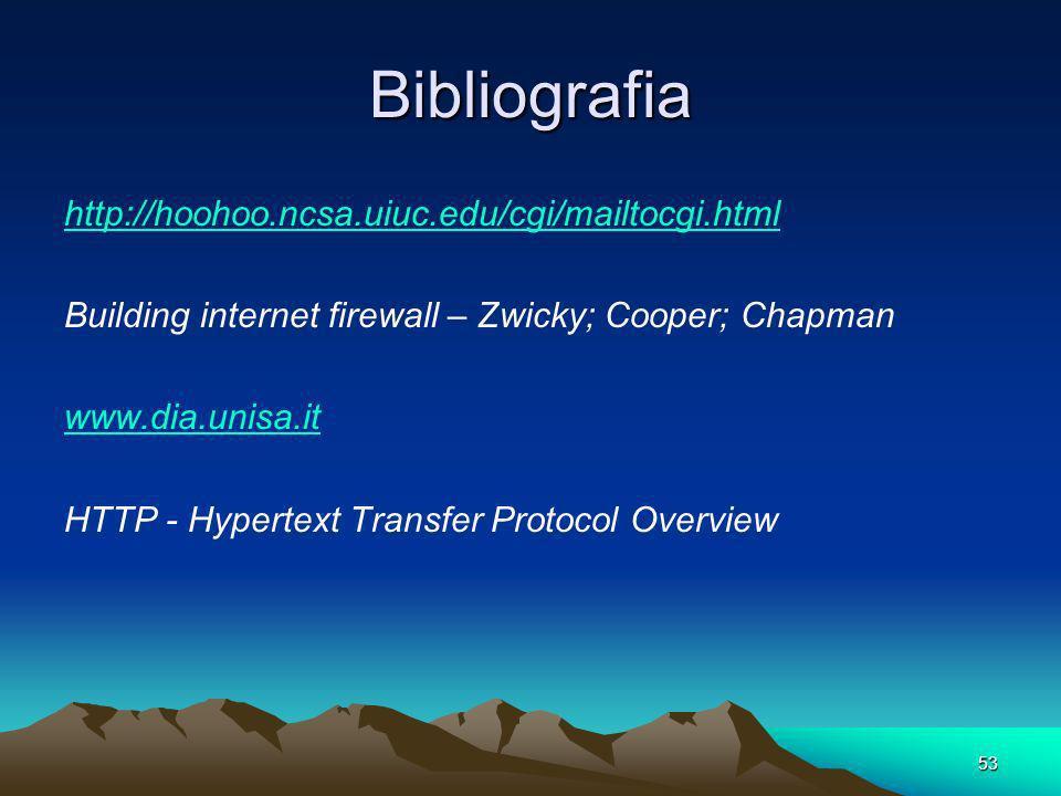 53 Bibliografia http://hoohoo.ncsa.uiuc.edu/cgi/mailtocgi.html Building internet firewall – Zwicky; Cooper; Chapman www.dia.unisa.it HTTP - Hypertext