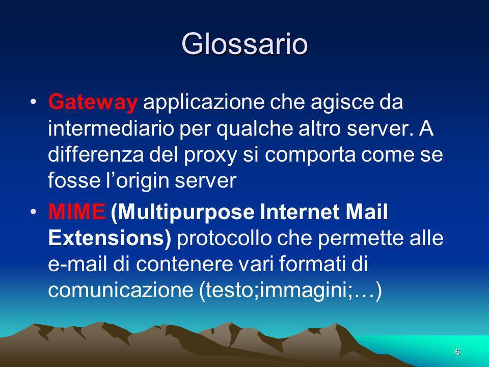6 Glossario Gateway applicazione che agisce da intermediario per qualche altro server. A differenza del proxy si comporta come se fosse lorigin server