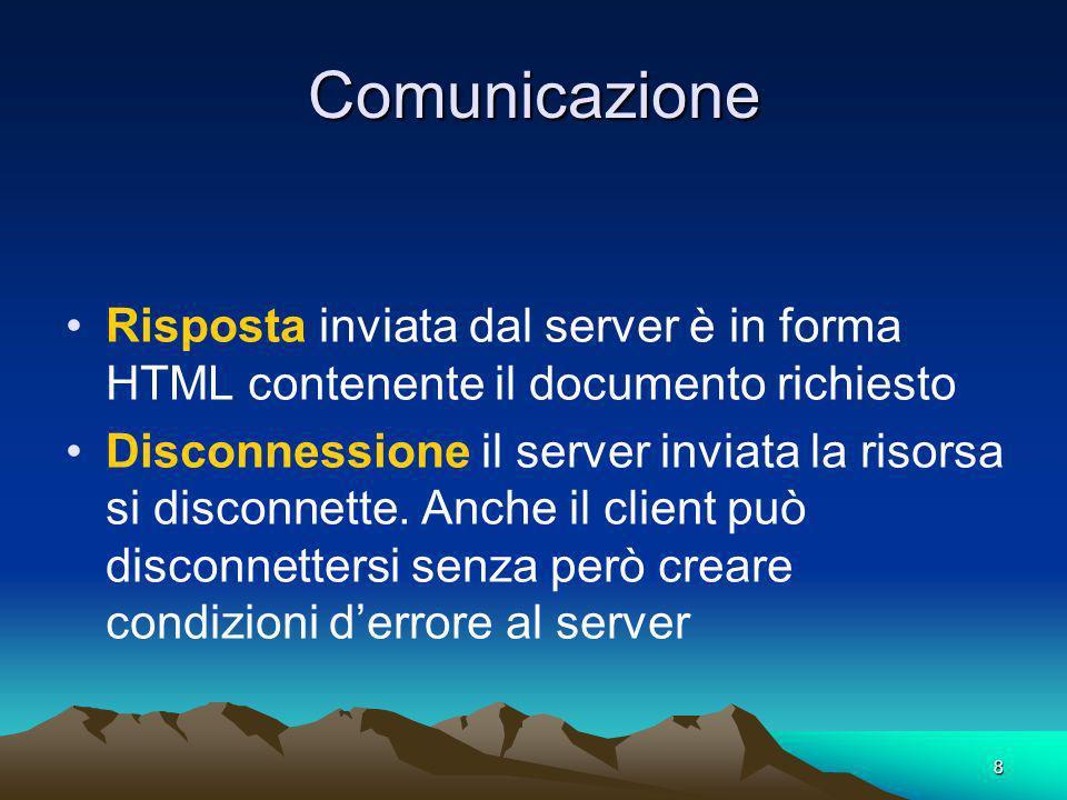 8 Comunicazione Risposta inviata dal server è in forma HTML contenente il documento richiesto Disconnessione il server inviata la risorsa si disconnette.