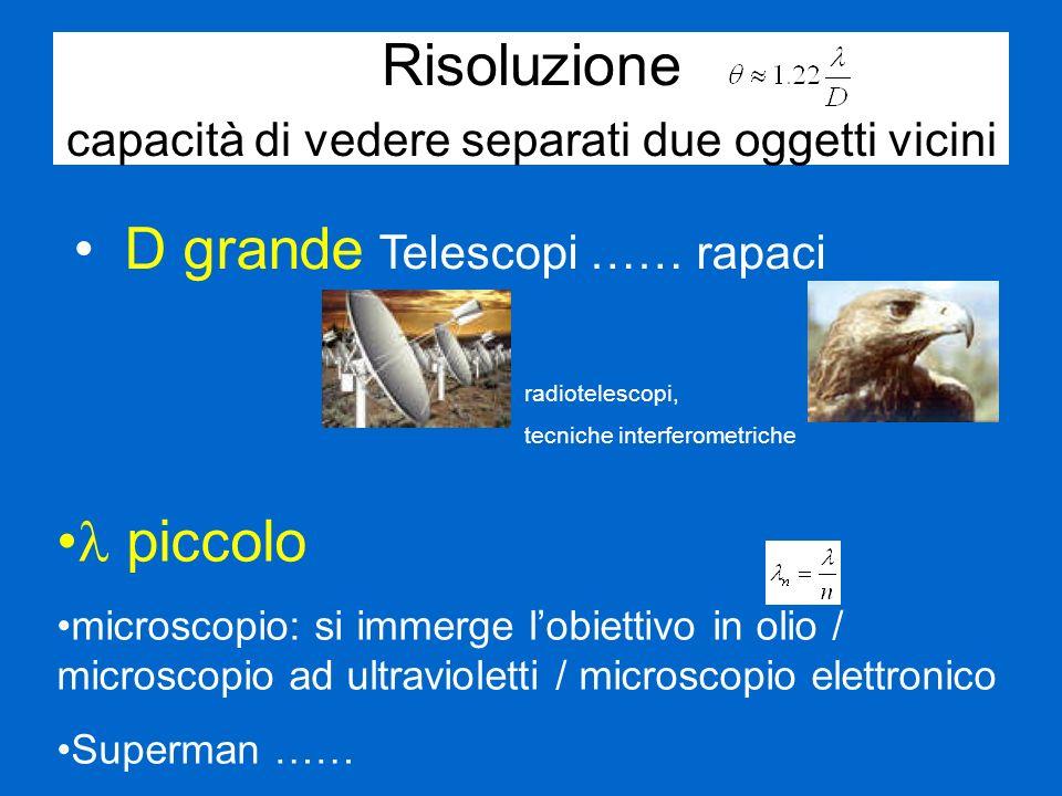 Risoluzione capacità di vedere separati due oggetti vicini D grande Telescopi …… rapaci piccolo microscopio: si immerge lobiettivo in olio / microscop