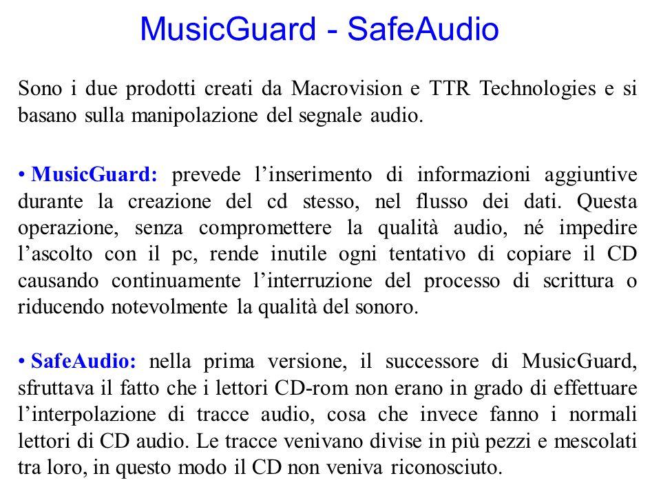 MusicGuard - SafeAudio Sono i due prodotti creati da Macrovision e TTR Technologies e si basano sulla manipolazione del segnale audio. MusicGuard: pre