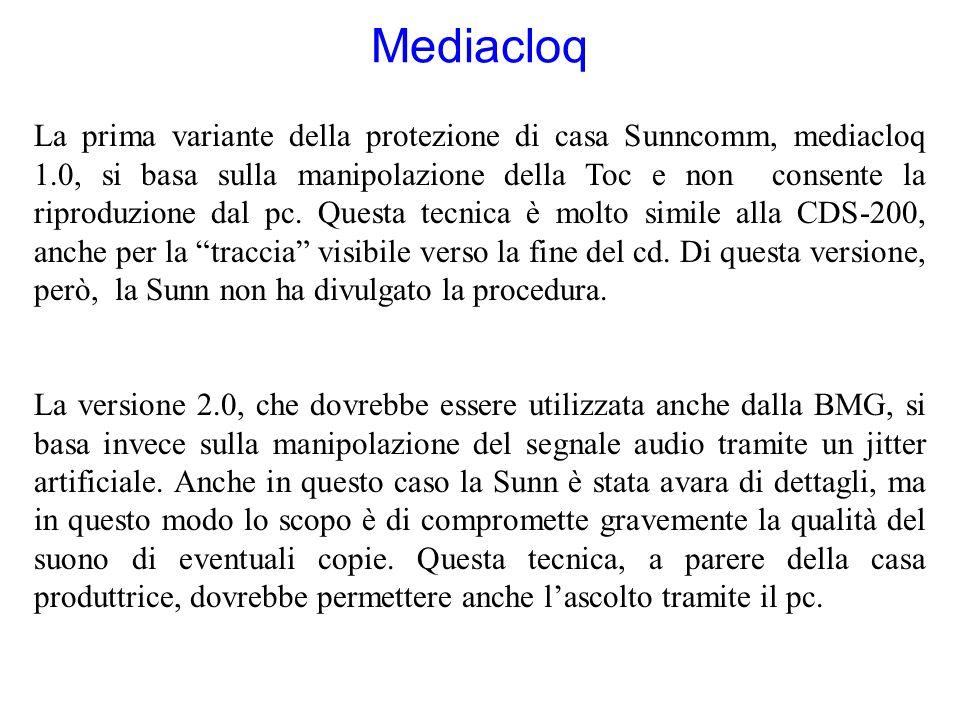 Mediacloq La prima variante della protezione di casa Sunncomm, mediacloq 1.0, si basa sulla manipolazione della Toc e non consente la riproduzione dal pc.