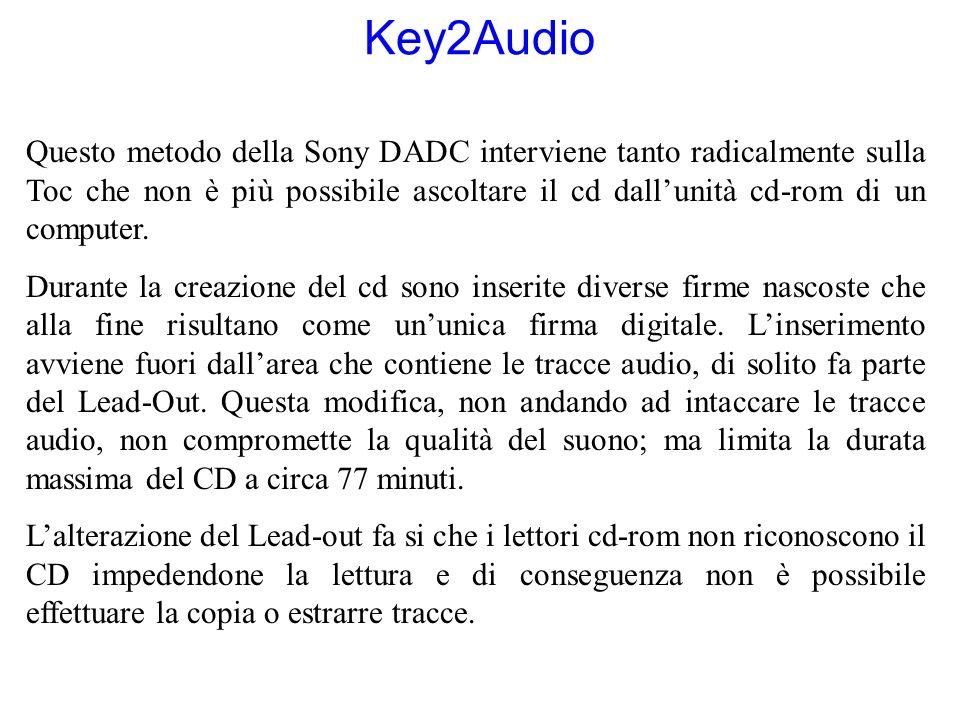 Key2Audio Questo metodo della Sony DADC interviene tanto radicalmente sulla Toc che non è più possibile ascoltare il cd dallunità cd-rom di un compute