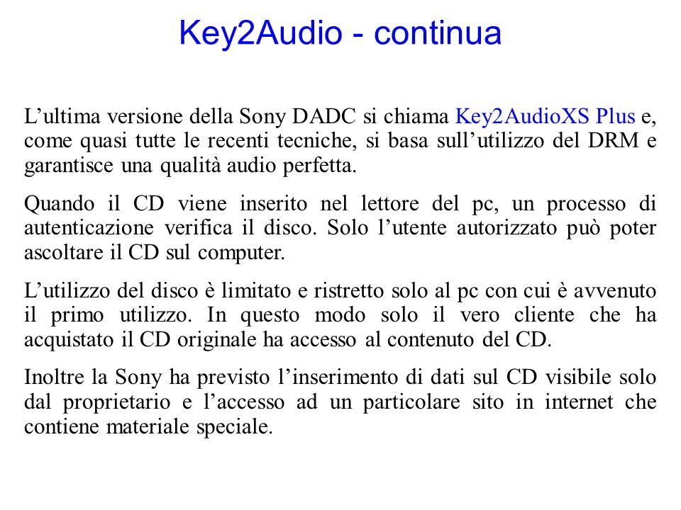 Key2Audio - continua Lultima versione della Sony DADC si chiama Key2AudioXS Plus e, come quasi tutte le recenti tecniche, si basa sullutilizzo del DRM e garantisce una qualità audio perfetta.