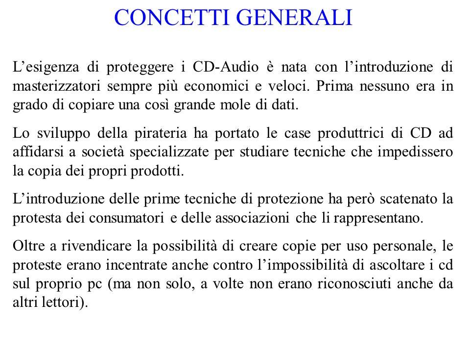 Concetti generali - continua Infatti le prime protezioni si basavano su un semplice concetto: se un CD non può essere letto sul pc non potrà neanche essere copiato.