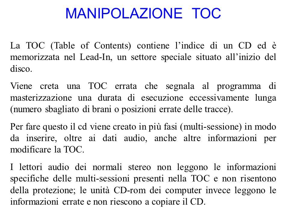 MANIPOLAZIONE TOC La TOC (Table of Contents) contiene lindice di un CD ed è memorizzata nel Lead-In, un settore speciale situato allinizio del disco.