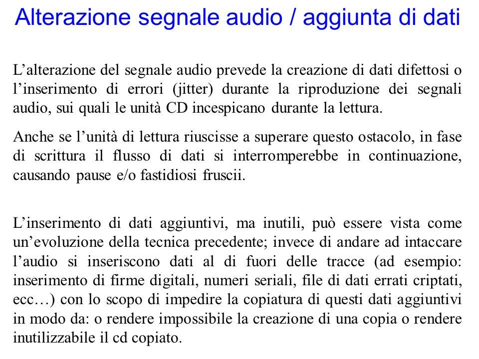 Alterazione segnale audio / aggiunta di dati Lalterazione del segnale audio prevede la creazione di dati difettosi o linserimento di errori (jitter) d