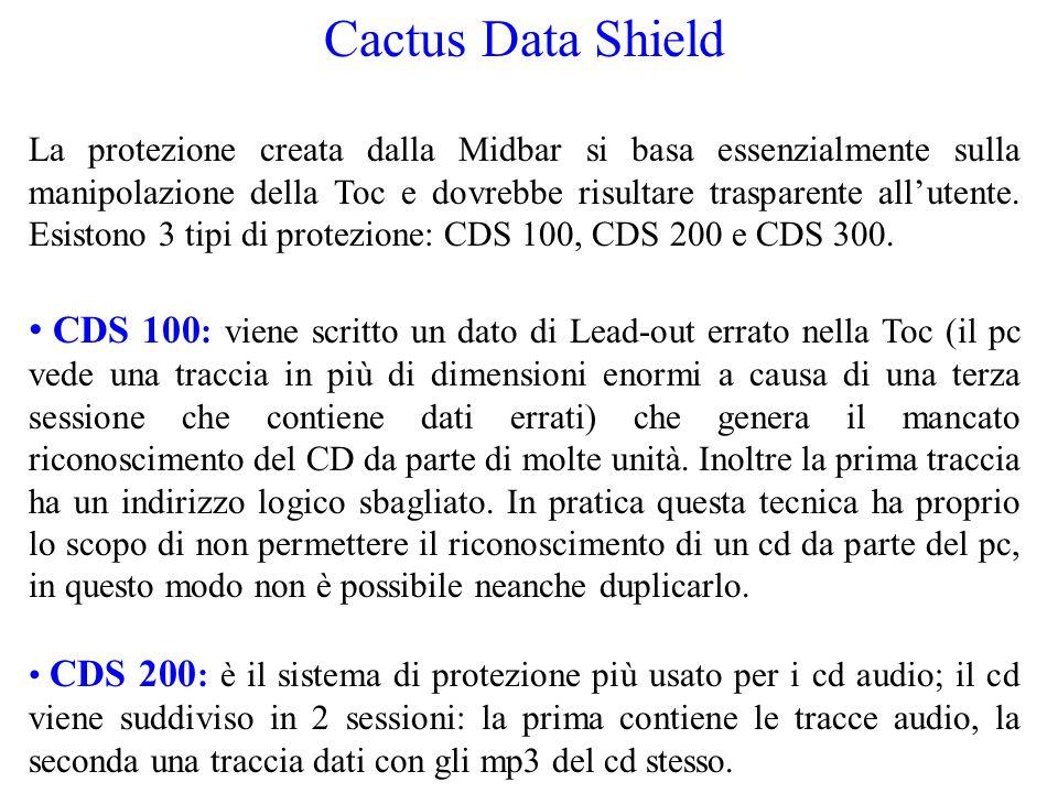 Cactus Data Shield La protezione creata dalla Midbar si basa essenzialmente sulla manipolazione della Toc e dovrebbe risultare trasparente allutente.