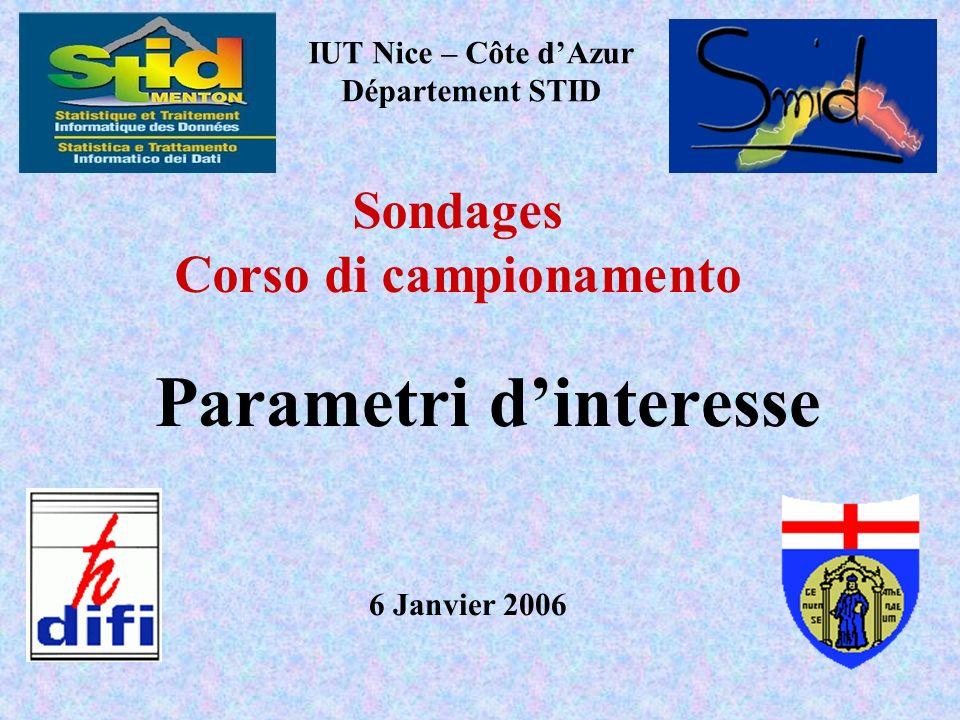 Parametri dinteresse IUT Nice – Côte dAzur Département STID 6 Janvier 2006 Sondages Corso di campionamento