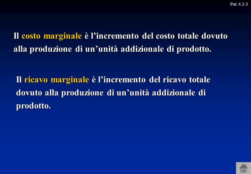 Il costo marginale è lincremento del costo totale dovuto alla produzione di ununità addizionale di prodotto. Il ricavo marginale è lincremento del ric