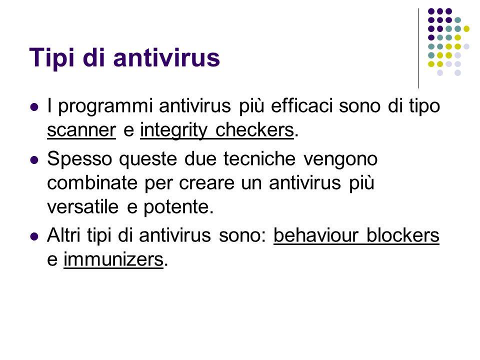 Tipi di antivirus I programmi antivirus più efficaci sono di tipo scanner e integrity checkers. Spesso queste due tecniche vengono combinate per crear