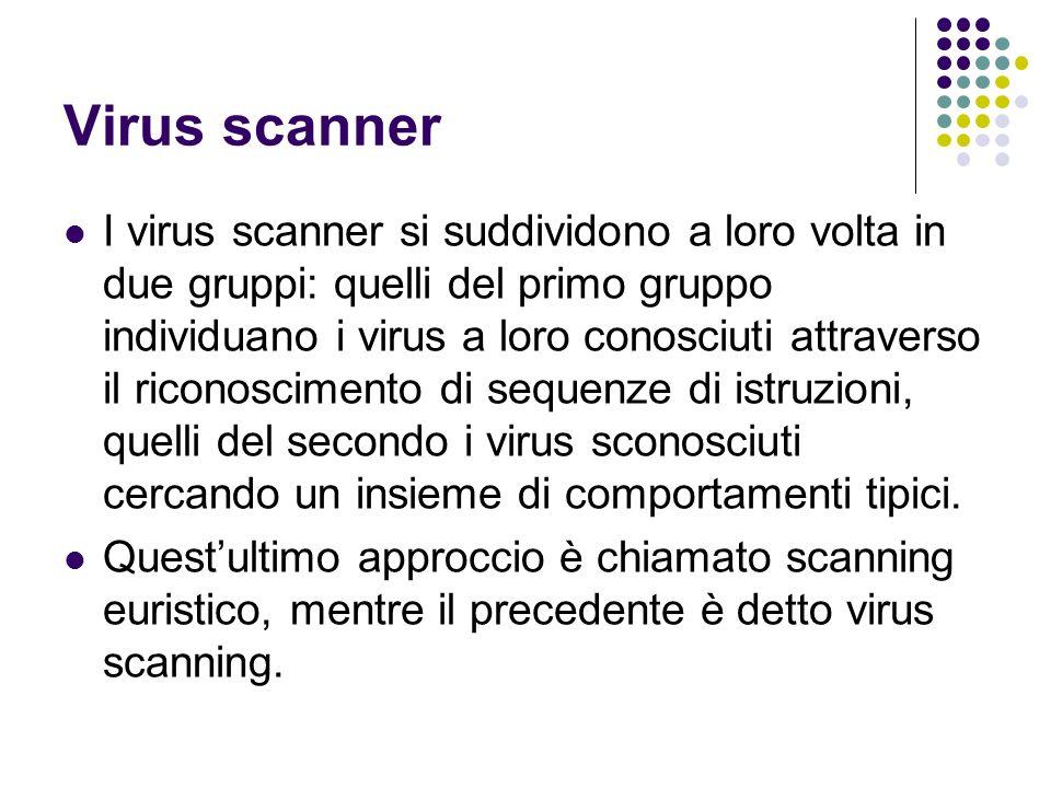 Virus scanner I virus scanner si suddividono a loro volta in due gruppi: quelli del primo gruppo individuano i virus a loro conosciuti attraverso il r
