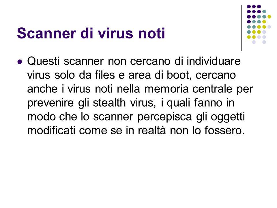 Scanner di virus noti Questi scanner non cercano di individuare virus solo da files e area di boot, cercano anche i virus noti nella memoria centrale