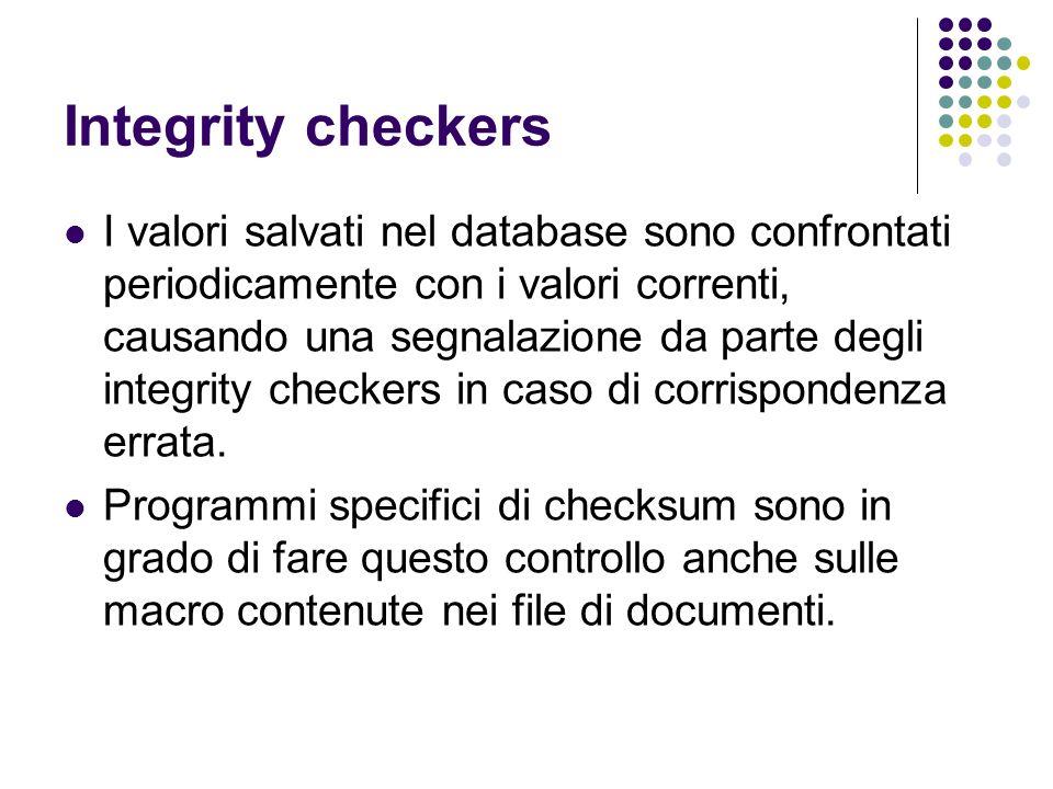 Integrity checkers I valori salvati nel database sono confrontati periodicamente con i valori correnti, causando una segnalazione da parte degli integ