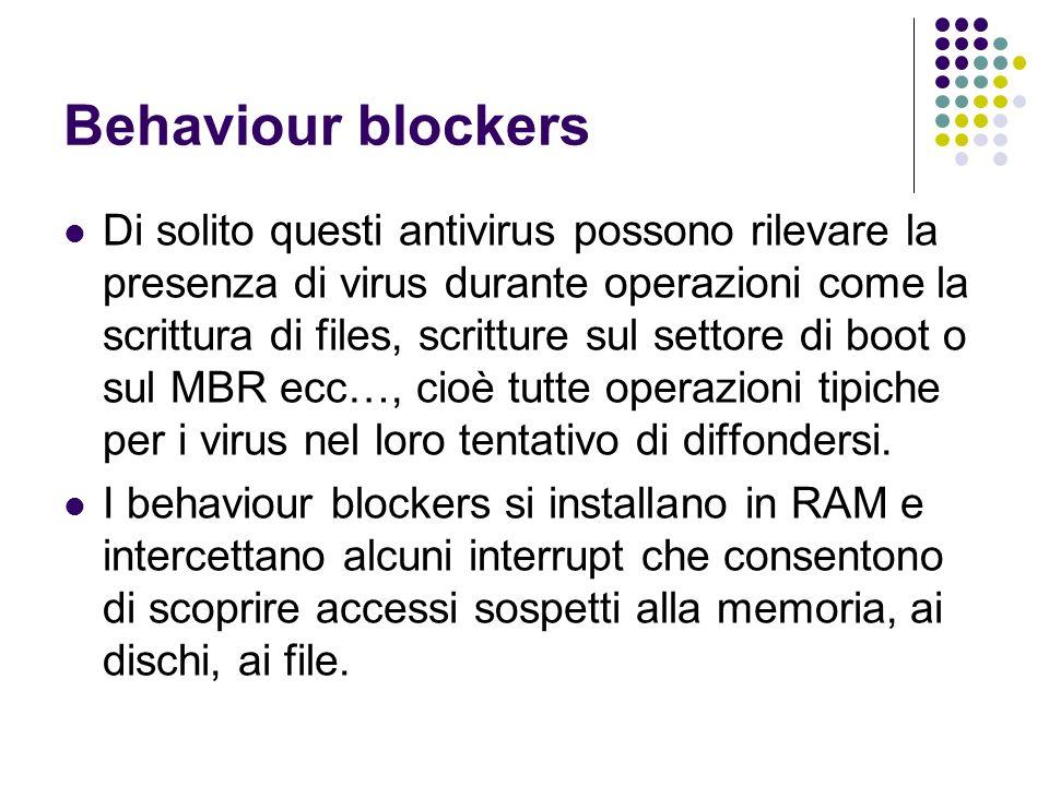 Behaviour blockers Di solito questi antivirus possono rilevare la presenza di virus durante operazioni come la scrittura di files, scritture sul setto