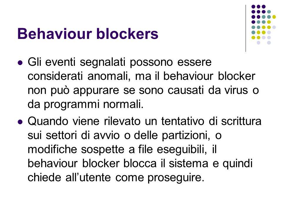Behaviour blockers Gli eventi segnalati possono essere considerati anomali, ma il behaviour blocker non può appurare se sono causati da virus o da pro