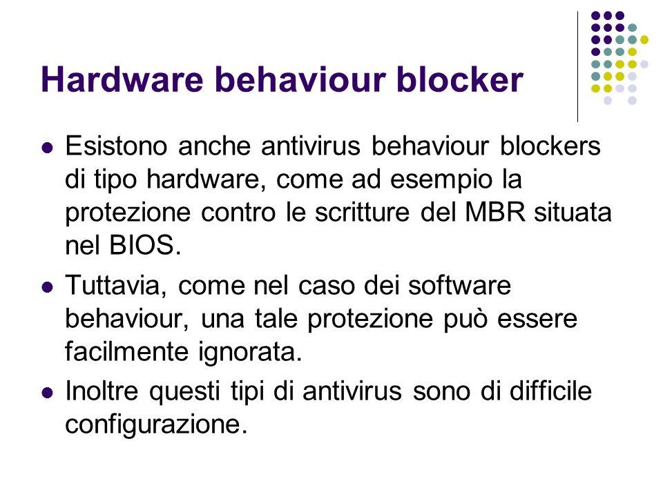 Hardware behaviour blocker Esistono anche antivirus behaviour blockers di tipo hardware, come ad esempio la protezione contro le scritture del MBR sit