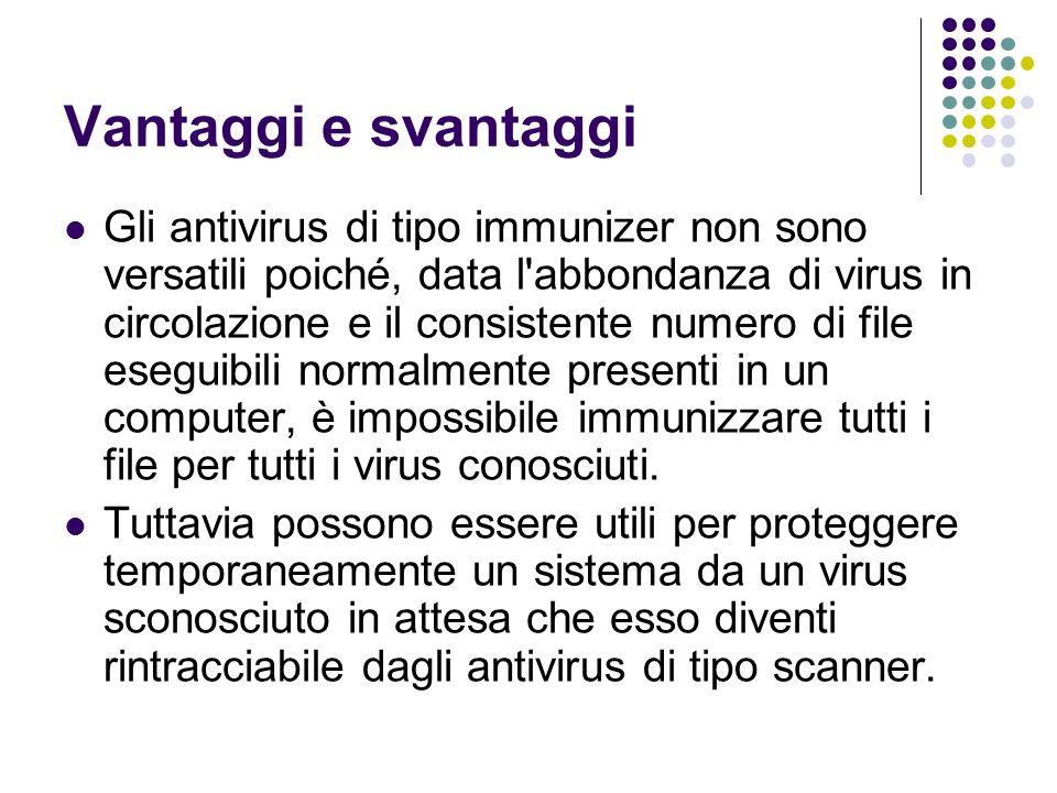 Vantaggi e svantaggi Gli antivirus di tipo immunizer non sono versatili poiché, data l'abbondanza di virus in circolazione e il consistente numero di