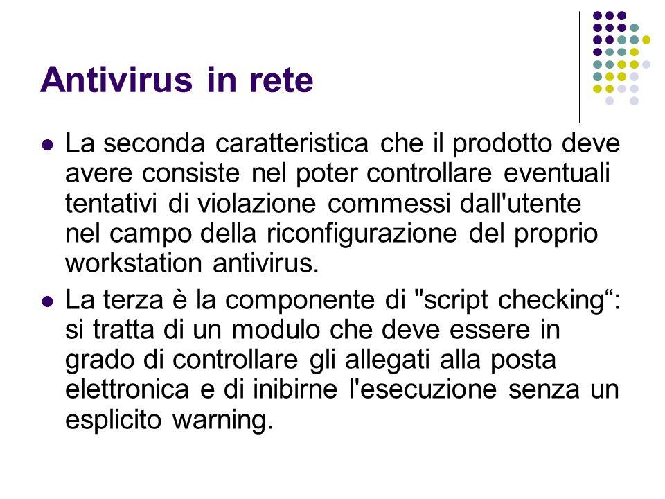 Antivirus in rete La seconda caratteristica che il prodotto deve avere consiste nel poter controllare eventuali tentativi di violazione commessi dall'