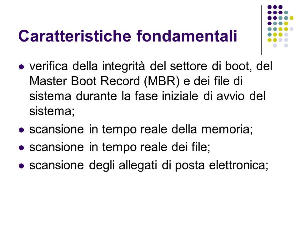 Caratteristiche fondamentali verifica della integrità del settore di boot, del Master Boot Record (MBR) e dei file di sistema durante la fase iniziale