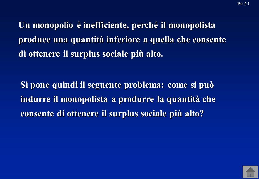 Un monopolio è inefficiente, perché il monopolista produce una quantità inferiore a quella che consente di ottenere il surplus sociale più alto. Par.