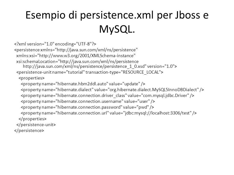 Esempio di persistence.xml per Jboss e MySQL. <persistence xmlns=