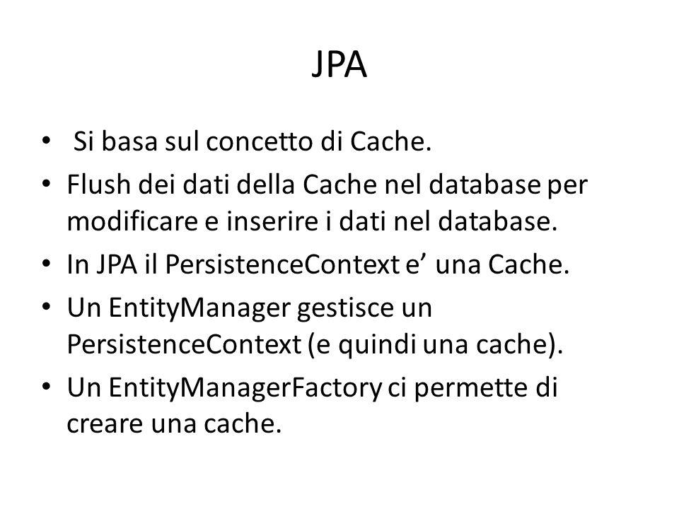 JPA Si basa sul concetto di Cache. Flush dei dati della Cache nel database per modificare e inserire i dati nel database. In JPA il PersistenceContext