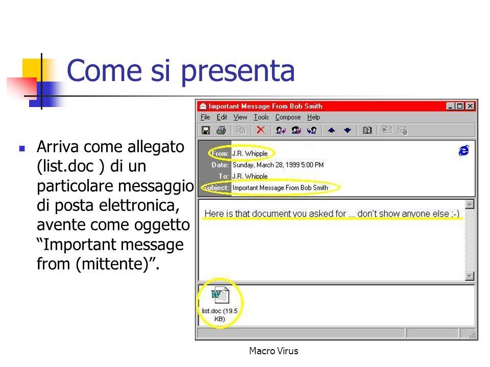Macro Virus Come si presenta Arriva come allegato (list.doc ) di un particolare messaggio di posta elettronica, avente come oggetto Important message from (mittente).