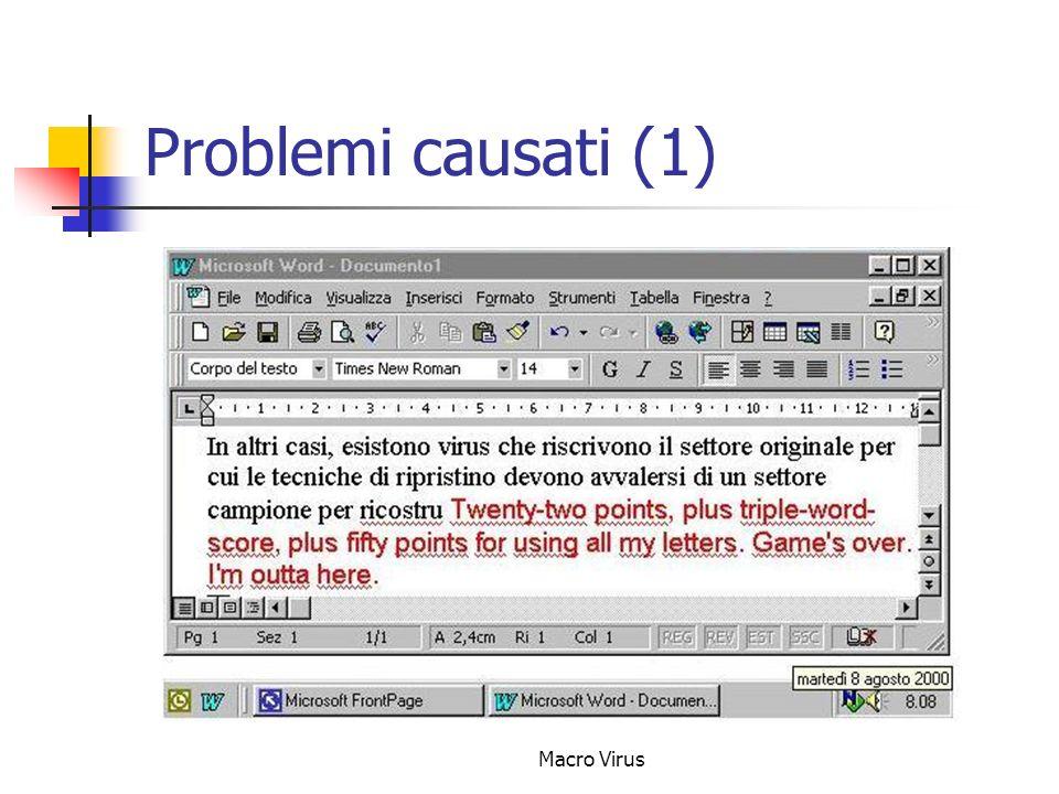 Macro Virus Problemi causati (1)