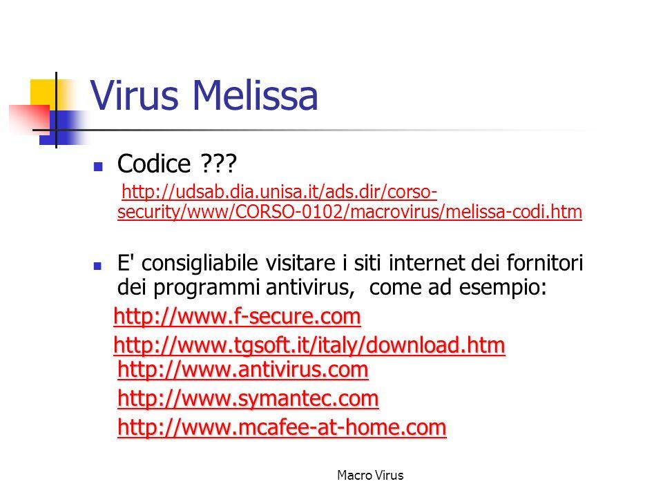 Macro Virus Virus Melissa Codice ??.