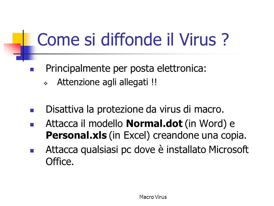 Macro Virus Problemi causati Ha provocato ingenti danni ai server di posta che si sono trovati completamente intasati dalle e-mail spedite a causa di questo virus.