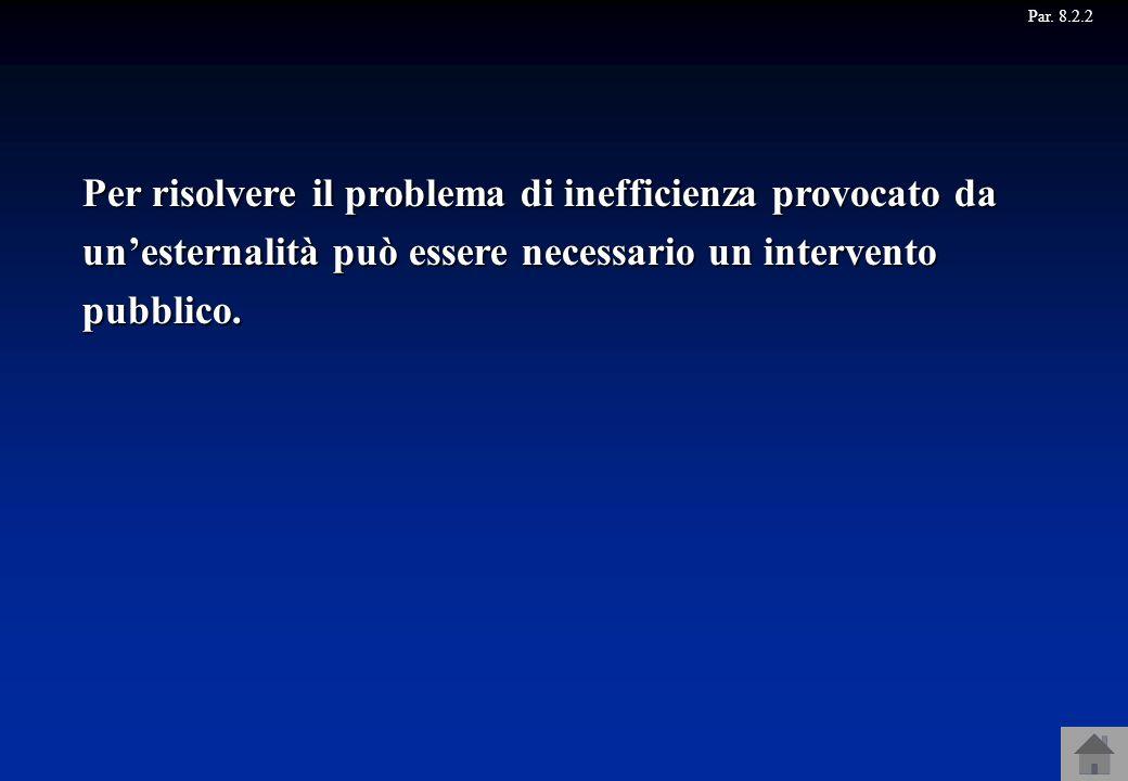 Par. 8.2.2 Per risolvere il problema di inefficienza provocato da unesternalità può essere necessario un intervento pubblico.