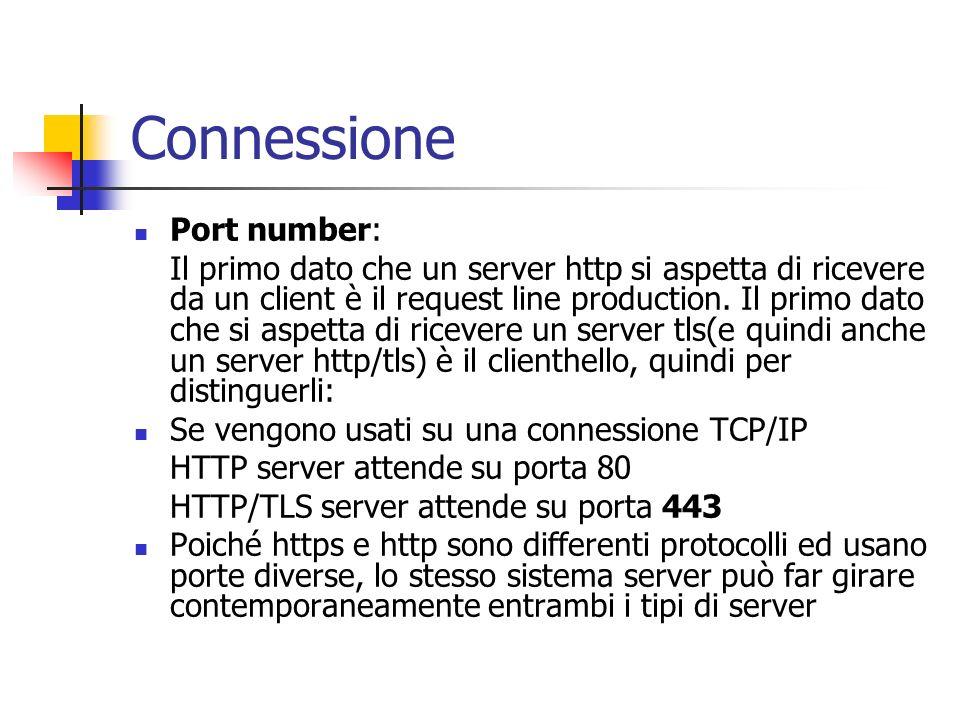 Connessione Port number: Il primo dato che un server http si aspetta di ricevere da un client è il request line production. Il primo dato che si aspet