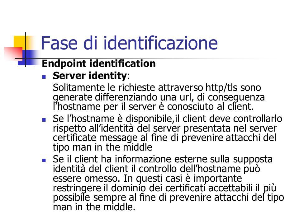 Fase di identificazione Endpoint identification Server identity: Solitamente le richieste attraverso http/tls sono generate differenziando una url, di