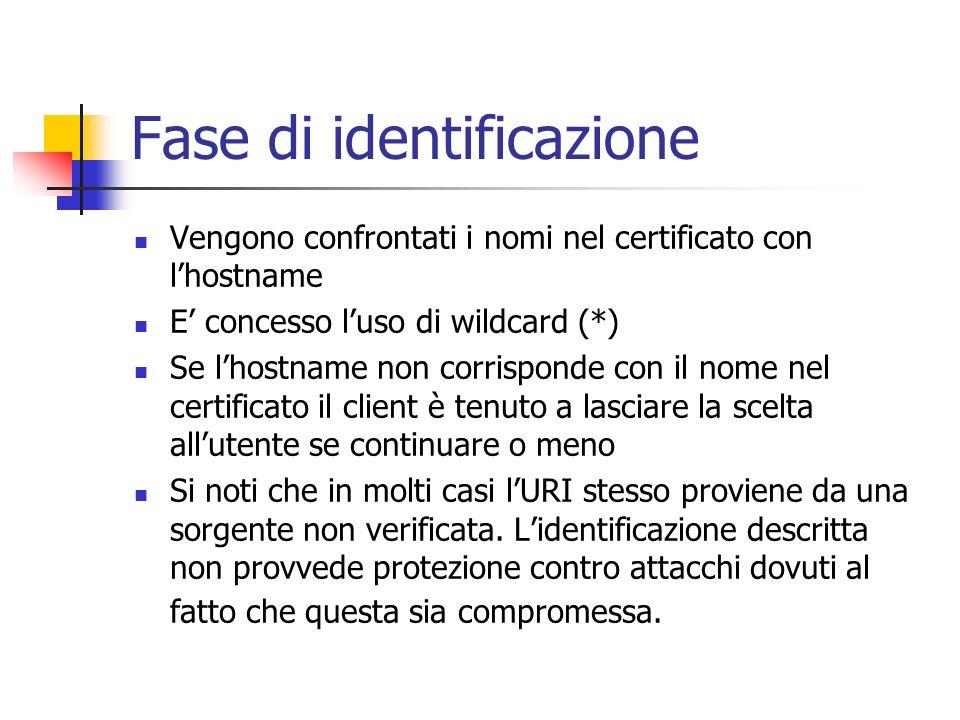 Fase di identificazione Vengono confrontati i nomi nel certificato con lhostname E concesso luso di wildcard (*) Se lhostname non corrisponde con il n