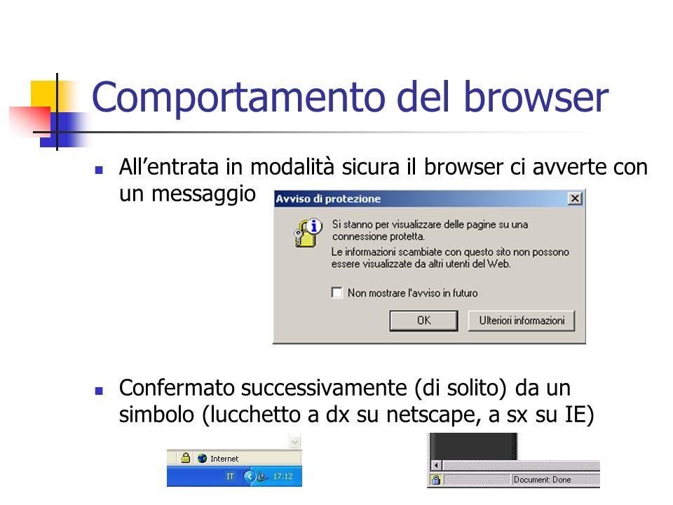 Comportamento del browser Allentrata in modalità sicura il browser ci avverte con un messaggio Confermato successivamente (di solito) da un simbolo (l